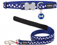 Red Dingo navy and white spot dog collar